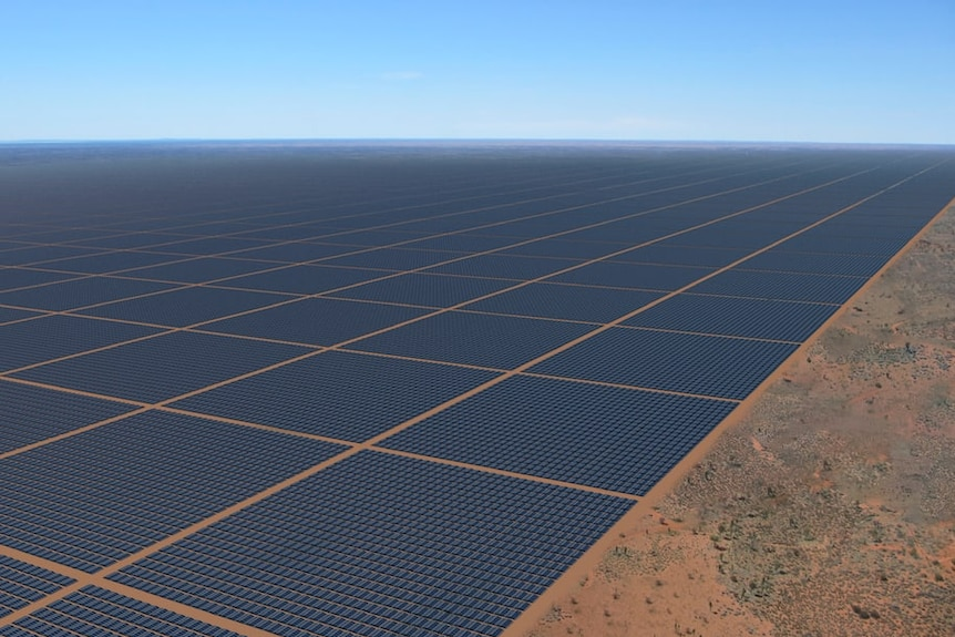 A computer-generated rendering of thousands of solar panels on red dirt.