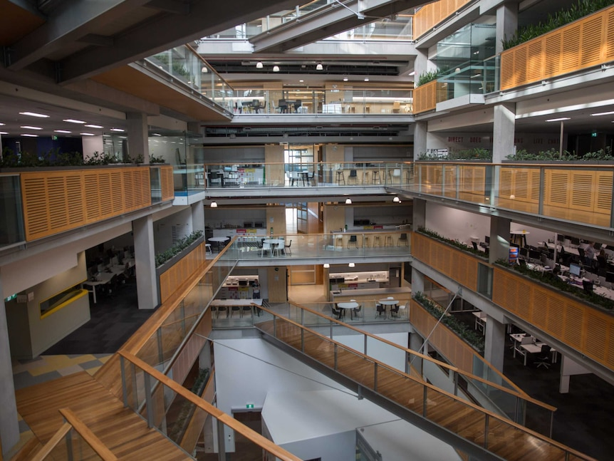 Empty floors and tea rooms across multiple levels at NAB's Melbourne office
