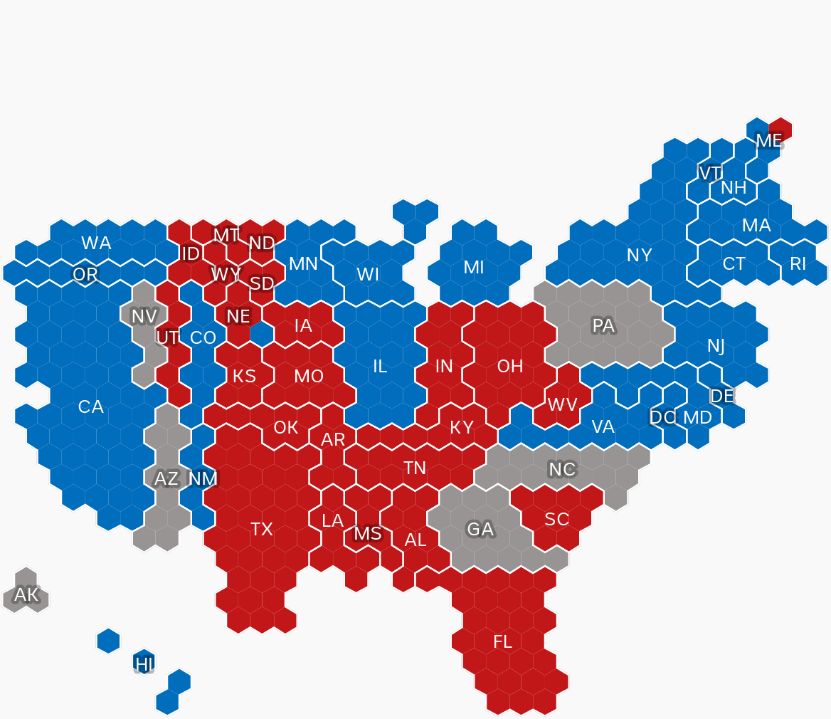 Graphic showing an allocation of electoral college votes