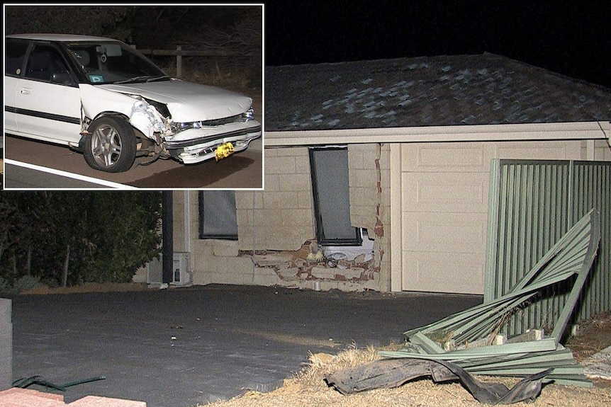 The P plate driver's car had its front end smashed after allegedly hitting a bedroom at a Duncraig house