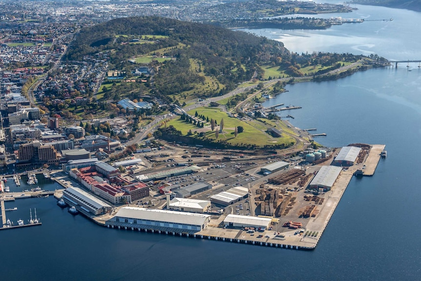 Aerial view of the port of Hobart and surrounds.