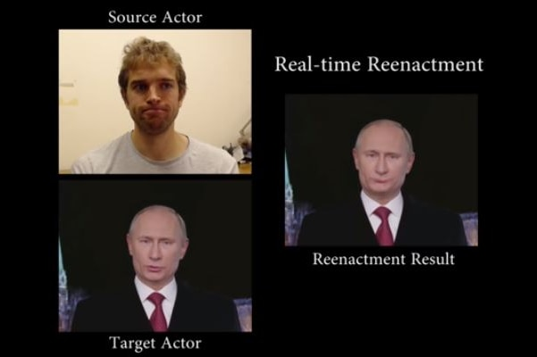 A video still showing a researcher and two versions of Vladimir Putin.