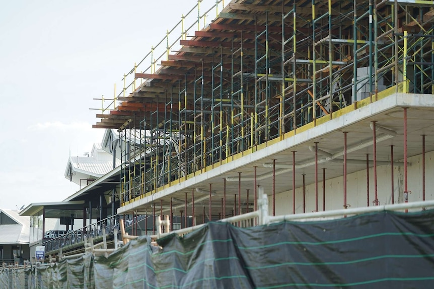 The new grandstand under construction.