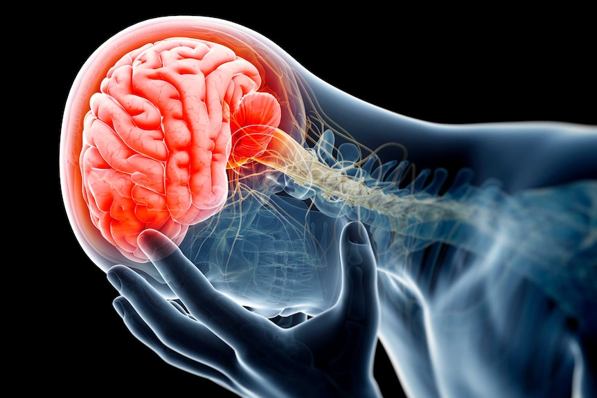 A person holding their head in pain.