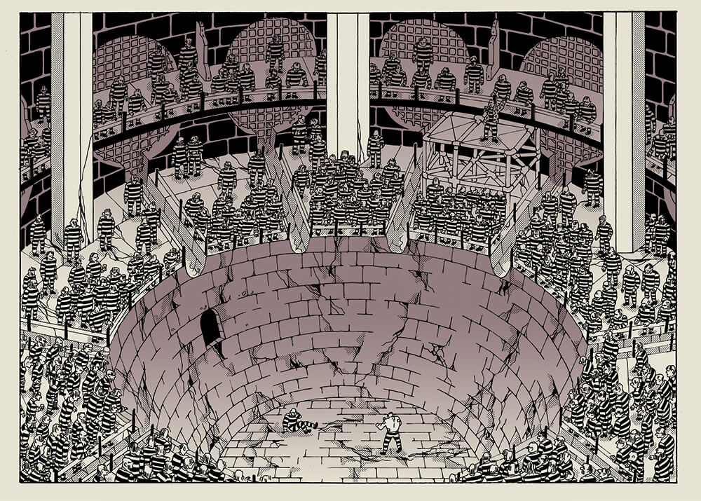 An illustrated scene of two small figures facing off in circular bricked fighting arena full of spectators in prison uniforms.