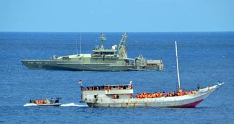 A boat carrying Sri Lankan asylum seekers that was intercepted off Christmas Island.