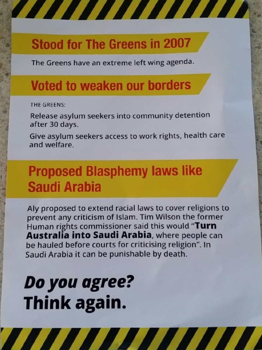 """An election flyer accusing Anne Aly of proposing """"blasphemy laws like Saudi Arabia""""."""