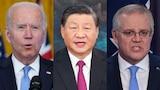 A composite image of Joe Biden, Xi Jinping, and Scott Morrison.