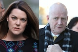 Sarah Hanson-Young on the left, with her hair billowing in the wind. David Leyonhjelm on the right, clutching his scarf.