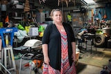 A woman in the shed.