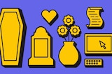 Illustration of death-related items: coffins, tombstone, heart, flowers, will to depict how to prepare for one's own death.