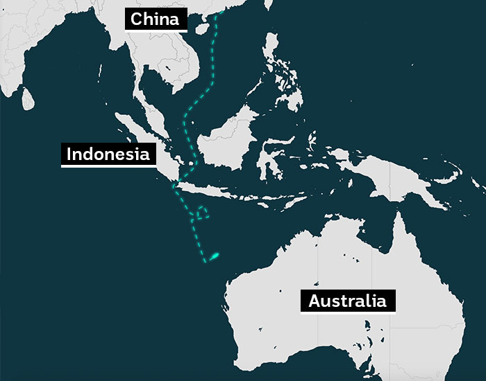 A map of south east asia showing the path a vessel took travelling from china to australia