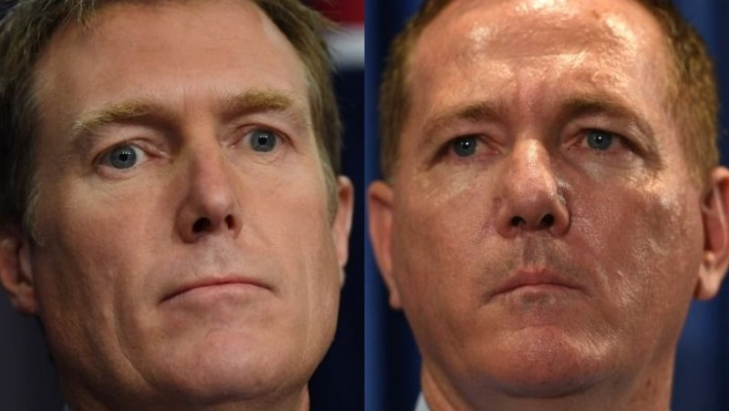 A composite of two men frowning