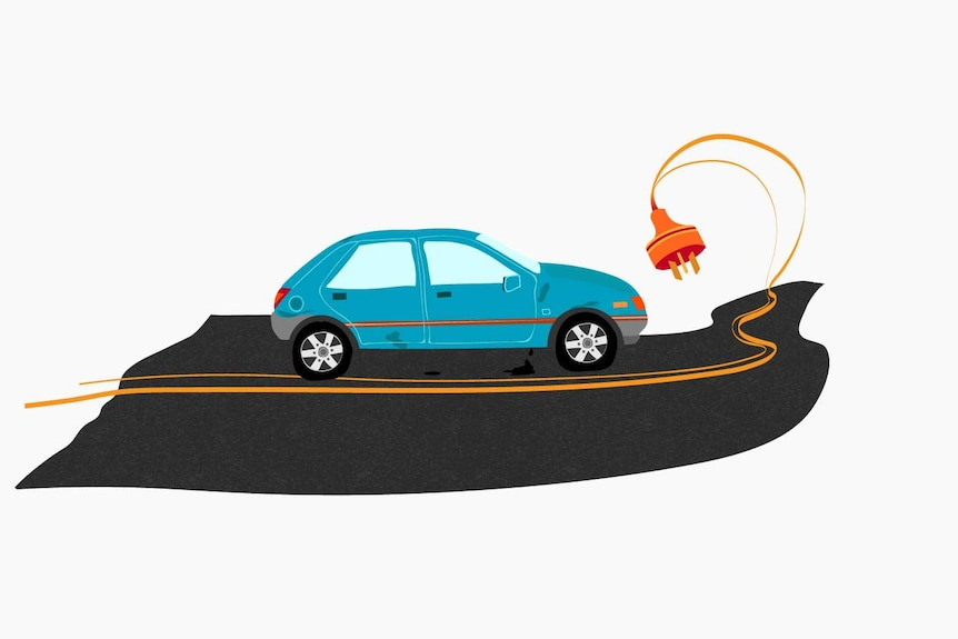 Illustration showing a car and a road with an electric cord embedded in it.