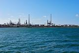 an oil refinery on the coast