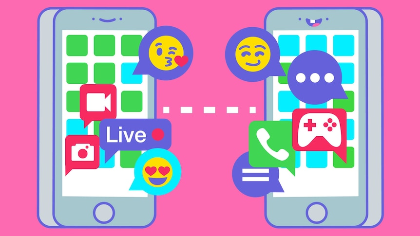 Playful illustration of two phones interacting via social media, as represented by icons