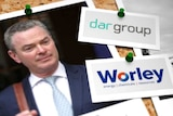 Image of photos pinned to a board including logos of corporations Worley and Dar.