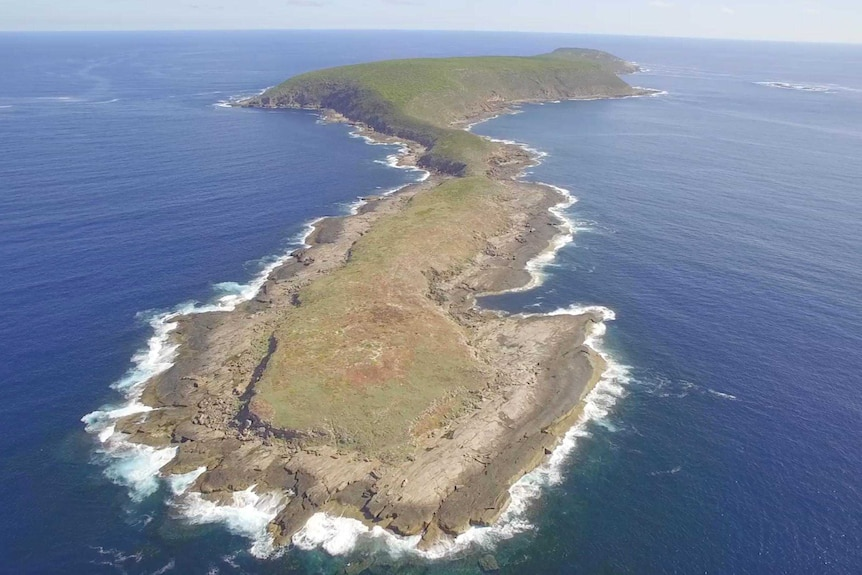 Overhead view of Salisbury Island, a granite outcrop in the southern ocean about 140 kilometres east of Esperance.