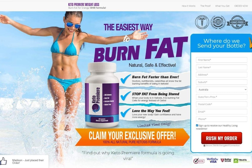 An example of the keto pills website, linked to from ads featuring Dr Brad McKay.