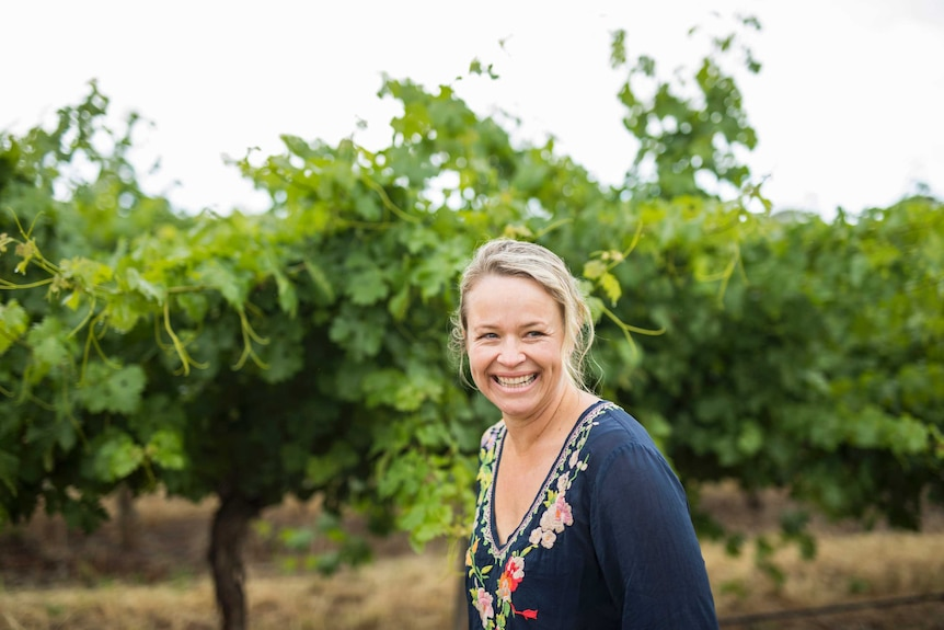 Corrina Wright in the family vineyard at Olivers Taranga