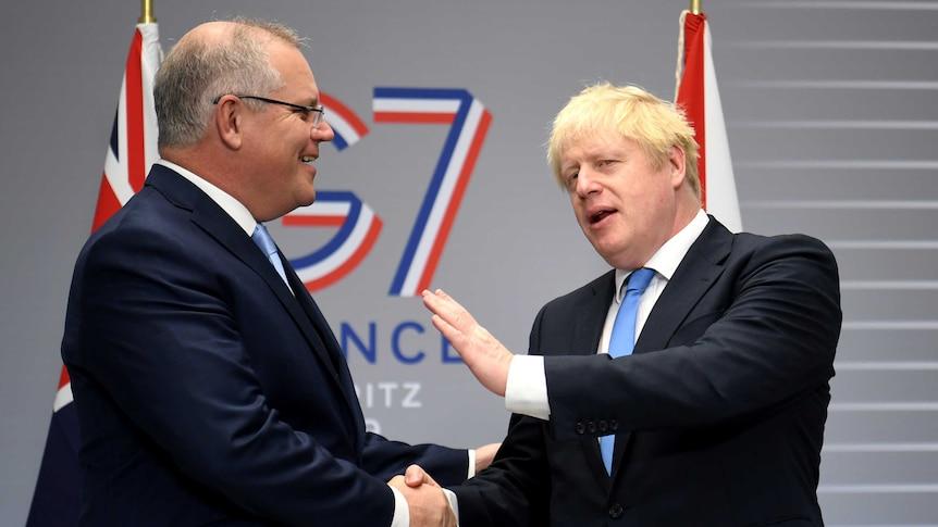 Scott Morrison and Boris Johnson(Reuters: Neil Hall)