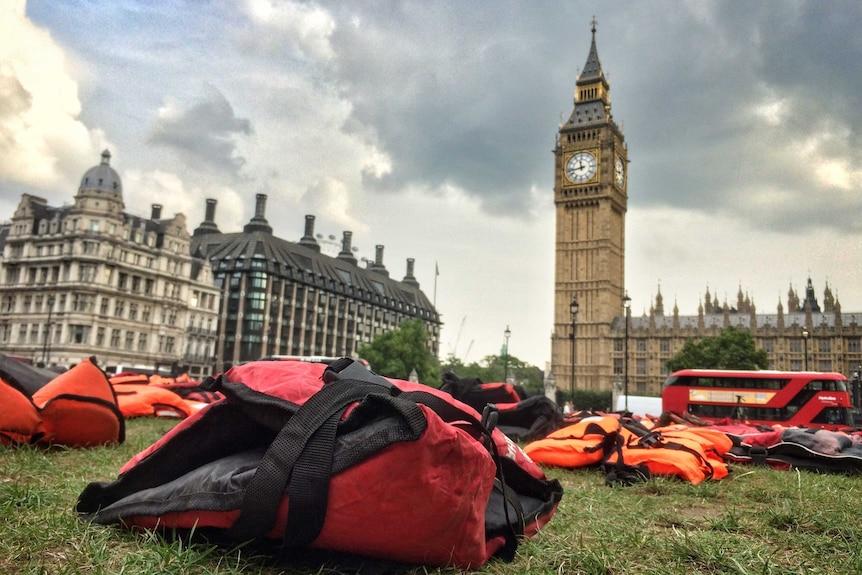 Close-up of life jacket at Parliament Square