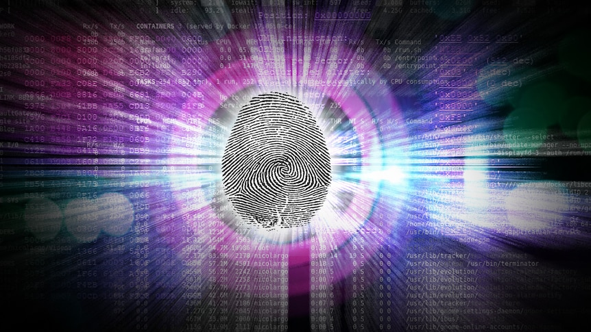 a graphic of a thumbprint with data behind it