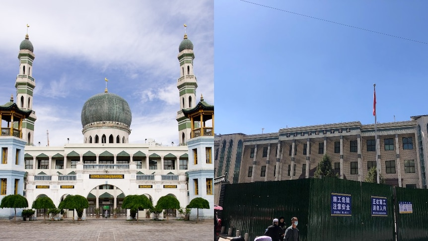 A composite image ofDongguan Mosque with the dome and the mosque without the dome.