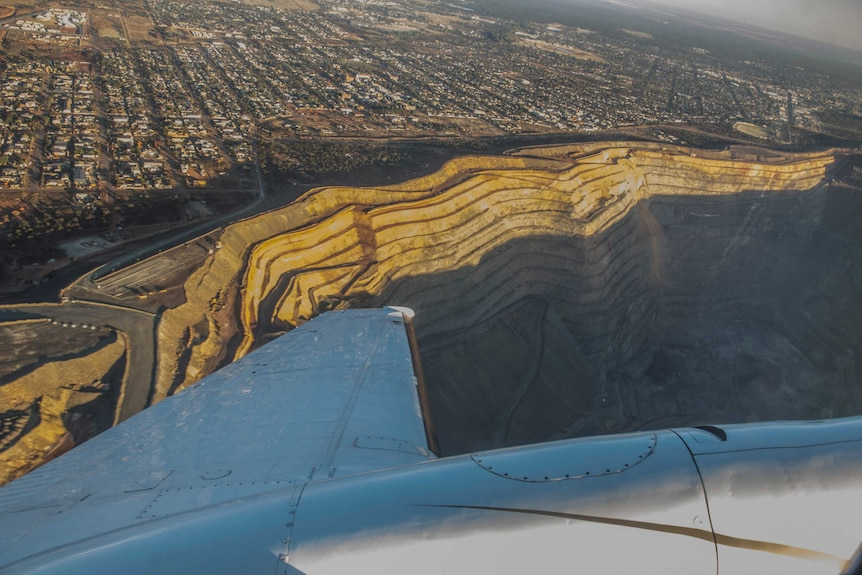 A view of Kalgoorlie's Super Pit from the air.