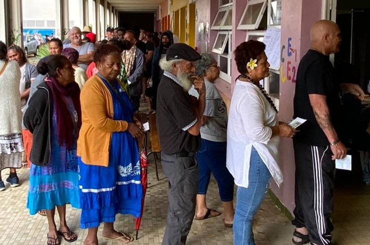 Voters lining up to cast their vote in the referendum.