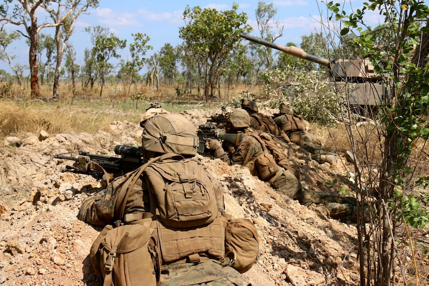 US Marines take a defensive position