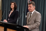 Grantham inquiry commissioner Walter Sofronoff and Premier Annastacia Palaszczuk face the media