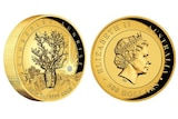 A composite image showing the two sides of a Kimberley Sunrise 2016 gold coin from Perth Mint.