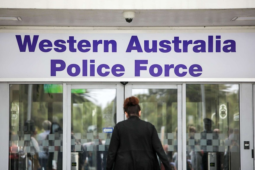Western Australia Police Force sign over the doors of police headquarters in Perth.