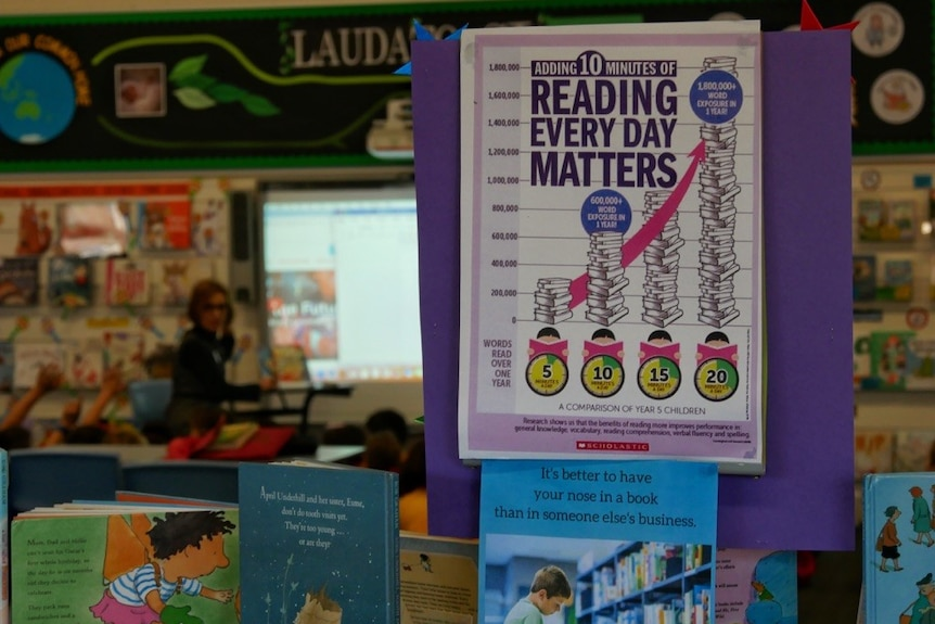 A close-up shot of a library sign which says 'reading every day matters'.