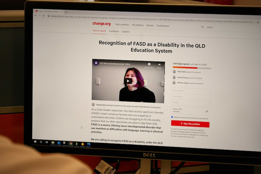 """A change.org webpage, the headline reads """"recognition of FASD as a Disability in the QLD Education System""""."""