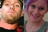 A split image showing a serious looking man in his 30s and a smiling woman, or similar age, with purple hair.