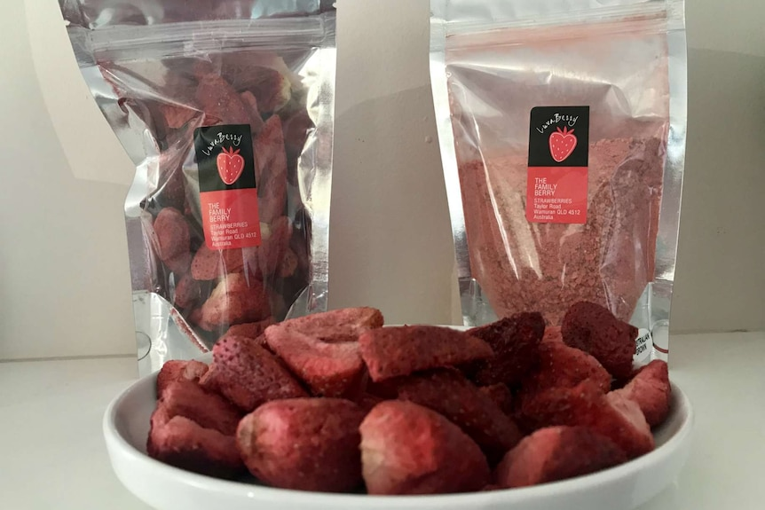 A packet of freeze dried strawberries and a packet of strawberry powder with freeze dried strawberries in the front.