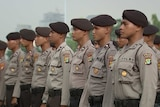 Jakarta Police perform drill ahead of April 19 governor election. April 18, 2017.