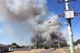 A fire burns near George Town, northern Tasmania.