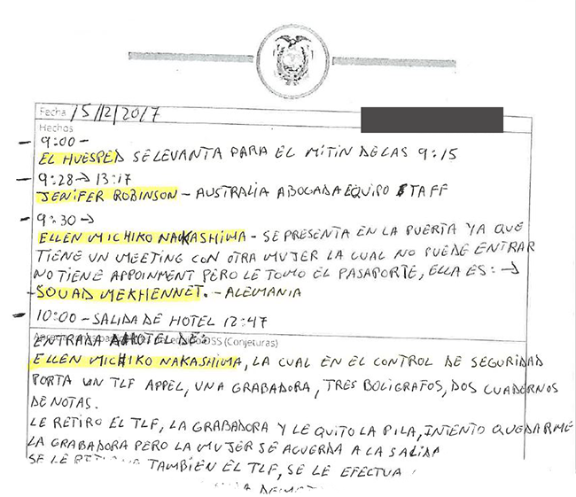 A handwritten log of Jennifer Robinson and other people visiting Assange.