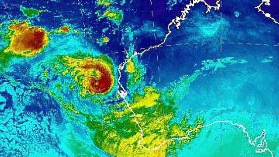 A colourful satellite image of Tropical Cyclone Seroja as it heads towards the WA coast.
