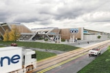 Artist's impression of the gigafactory with wood panels and renaissance one on the side.