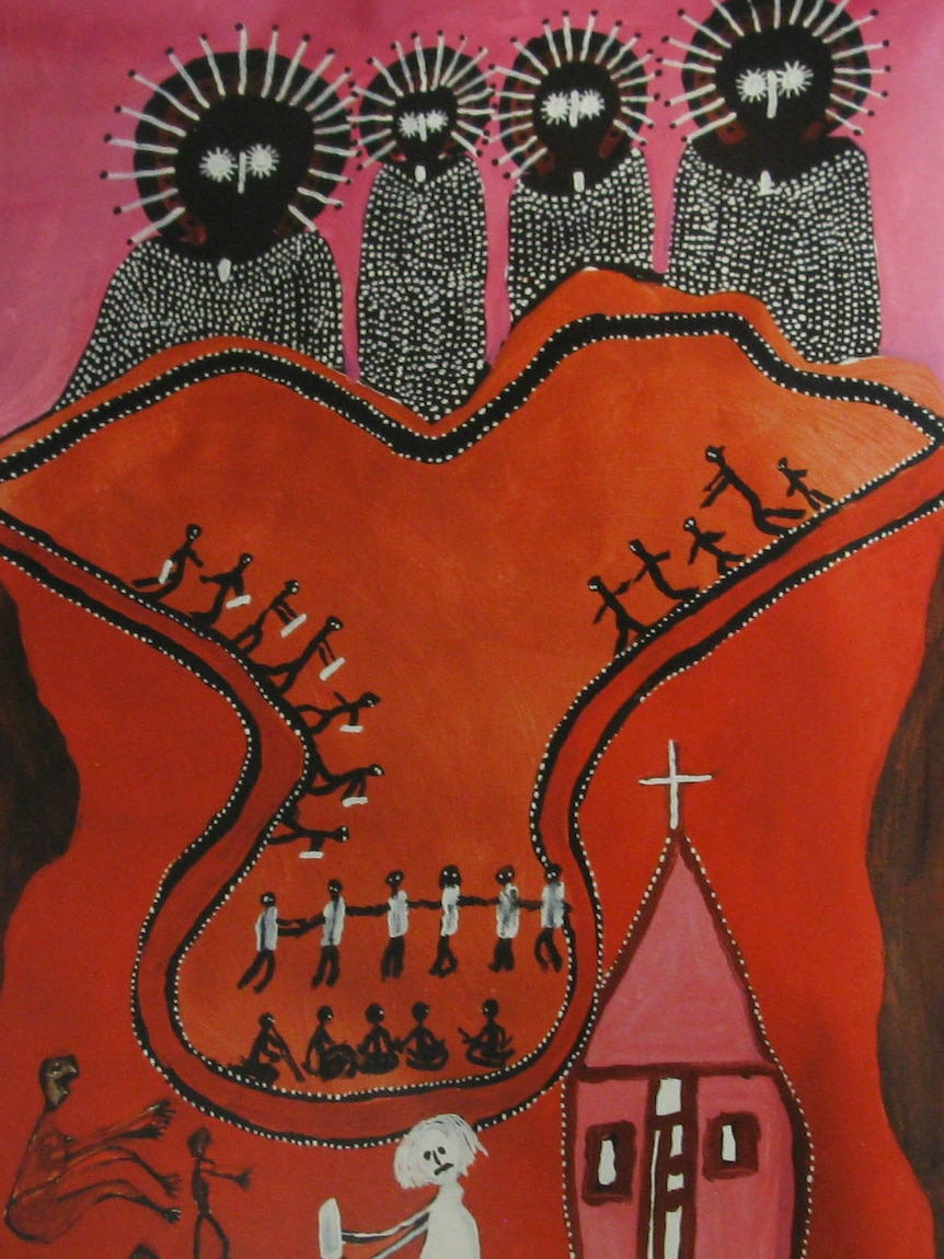The painting depicts the Indigenous spirit figure of the Wandjina above people attending the White man's (Christian) church.