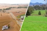 A composite image of a farm before and after rainfall.