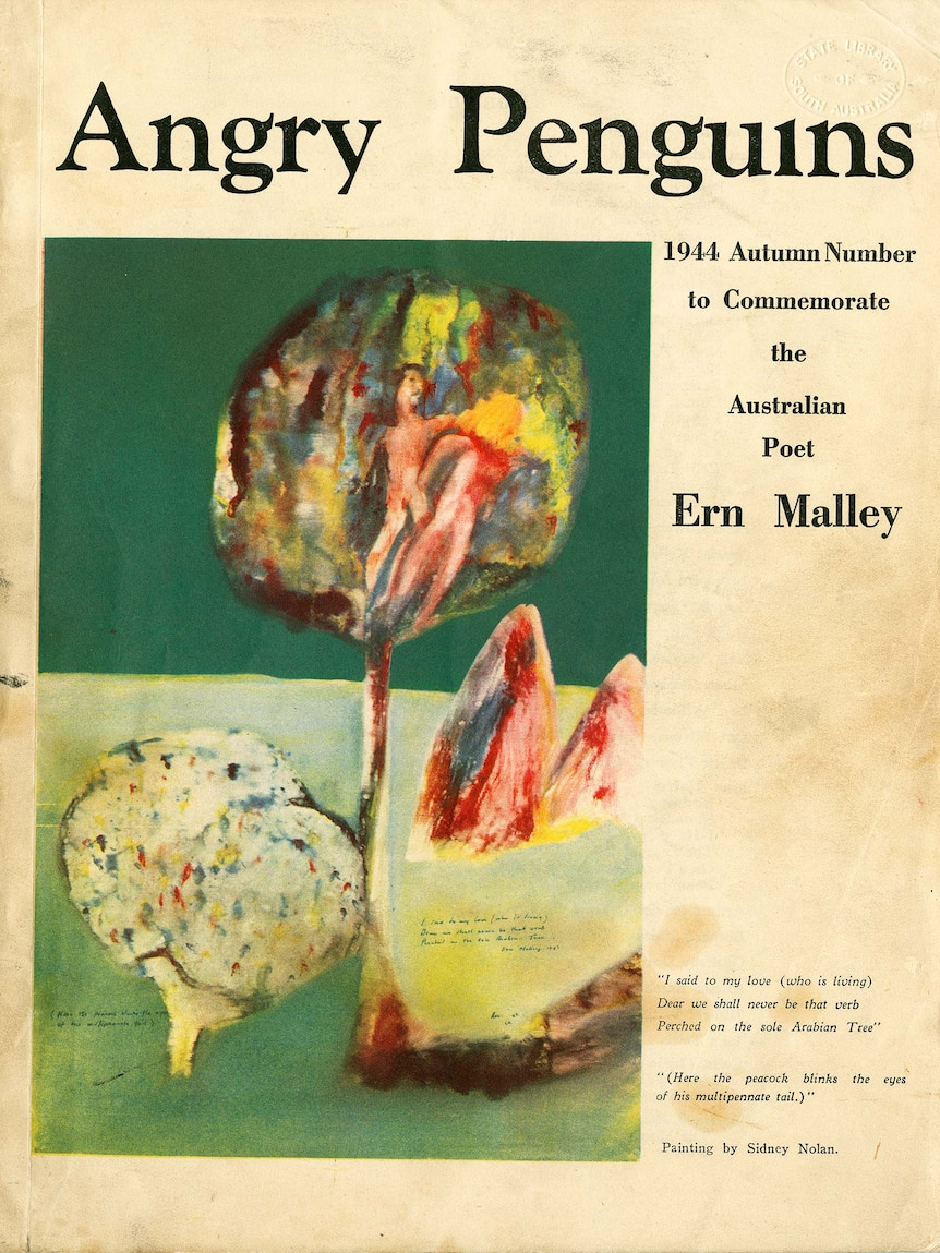 Cover of newspaper titled 'Angry Penguins', captioned 'Autumn issue 1944 to commemorate Australian poet Ern Malley'