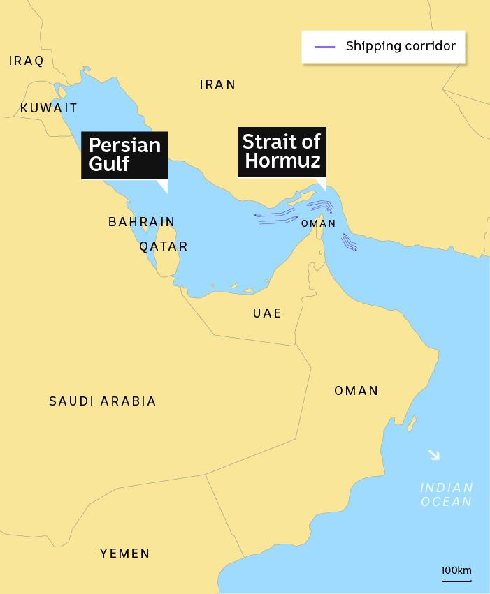 Map showing shipping corridor in Strait of Hormuz