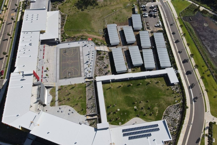 A aerial view of a school