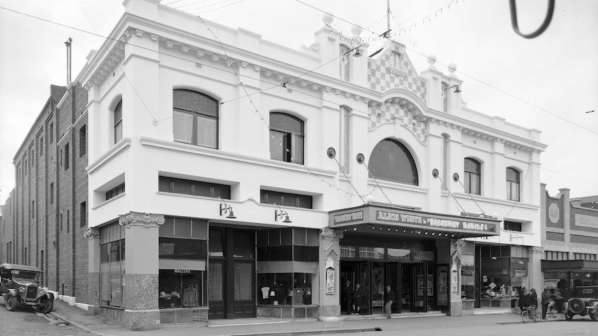 External view of the New Strand Theatre, Liverpool Street, Hobart showing part of Watchorn Street