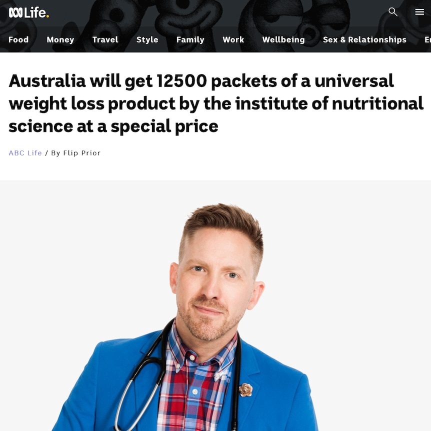 A screen capture of the fake ABC article featuring Dr Brad McKay.